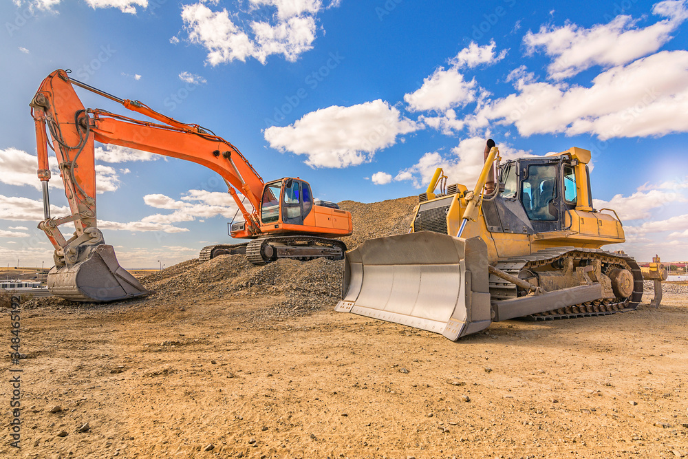 Photo Various machinery and equipment for road construction or civil engineering
