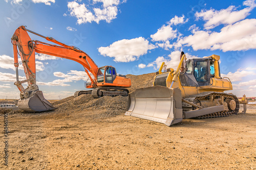 Various machinery and equipment for road construction or civil engineering Wallpaper Mural