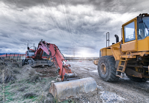 Cuadros en Lienzo Various machinery and equipment for road construction or civil engineering