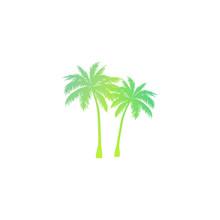 Palm Tree Silhouette - Gradien...