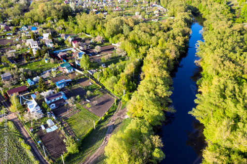 Photo Drone view on garden allotments