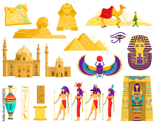 Symbols of ancient Egypt, architecture and archeology landmarks isolated on white, vector illustration Canvas Print