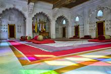 Moti Mahal (The Pearl Palace) Decorated Court Room In Mehrangarh Fort, Jodhpur, Rajasthan, India