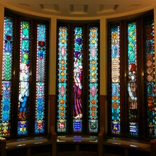 Multi Colored Stained Glass Windows In Church