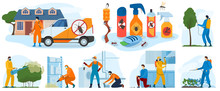 Pest Control Services, Insects Exterminator With Insecticide Spray And In Protection Cloths Flat Icons Isolated Vector Illustration. Pesticide Detecting Pestholes Exterminating Insects.