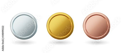 Obraz Vector gold coins and medal with ribbon, set of isolated awards in realistic design. Symbol of money and wealth. Celebration and ceremony concept. - fototapety do salonu