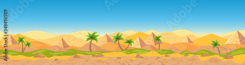 Egyptian desert Panoramic view cartoon vector illustration landscape, banner. Wide panorama sand desert background, hot weather, sand dunes, pyramids, palms game style