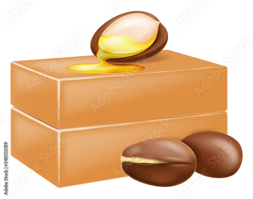 Photo Natural handmade argan soap with argan nuts. Vector illustration.