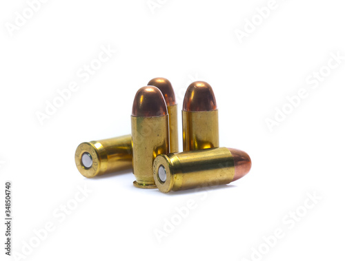 cartridges of .45 ACP pistols ammo isolated Canvas Print