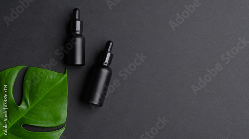 Obraz Black dropper bottles and tropical leaf on black background with copy space. Natural organic skin care product, luxury premium packaging design mockup - fototapety do salonu