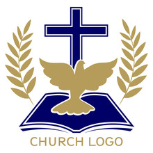 Church Logo, Symbol Of Christianity, The Cross , Dove And The Gospel, Scripture, Vector Illustration