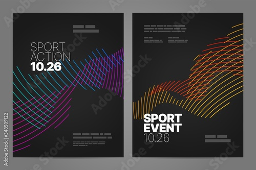 Fototapeta Poster layout design with abstract dynamic lines for sport event, invitation, awards or championship. Sport background. obraz