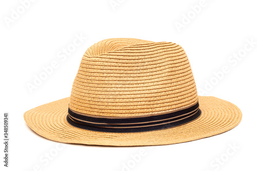 Boater straw hat isolated shot in the Studio Canvas Print