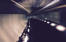 Empty Underground Road With Ceiling Lights