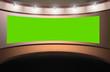 Leinwanddruck Bild - Virtual studio in circle with green screen