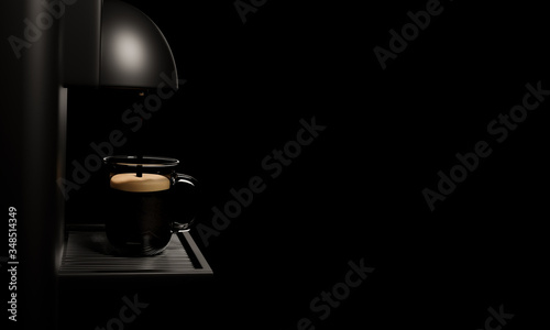Fototapeta Espresso coffee machine Glossy black and shiny metal. Coffee is pouring into a clear coffee cup. Placed on a silver metal grate In the black background. 3D Rendering obraz