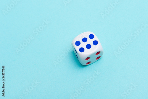White dice on a blue background Fototapete