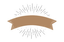 Flag Ribbon Template. Old School Flag Banner Template. Ribbon Flag In Vintage Style With Linear Drawing Light Rays, Sunburst And Rays Of Sun, Template. Vector Illustration