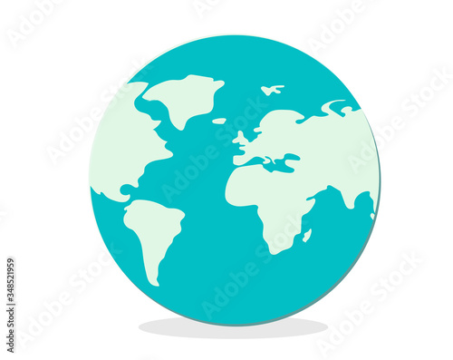 Photo the globe. approximate abstract World map in green colors.