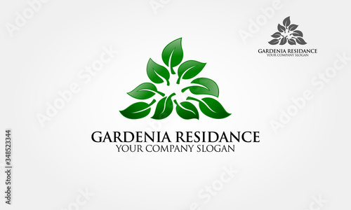 Fényképezés Gardenia Residence Logo Template is an excellent logo template highly suitable for Real Estate logo company, residence, house, building, insurance, interiors and property