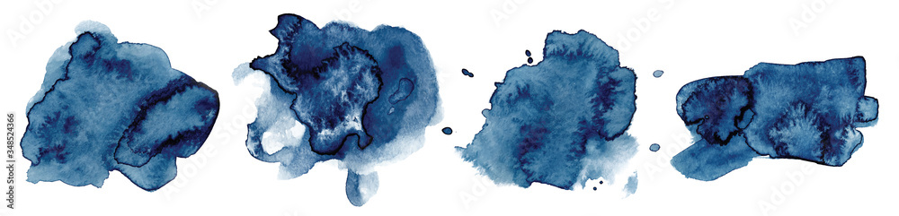 Fototapeta Abstract watercolor classic blue shapes on white background. Color splashing hand drawn vector