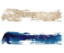 Abstract Watercolor Classic Blue And Gold Brush Strokes On White Background. Color Splashing Hand Drawn Vector