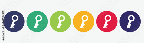 Collection of 6 web buttons with key icon. Fototapet