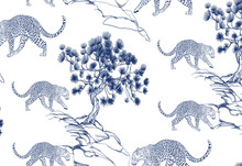 Blue Leopards With Trees Japan...