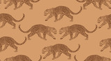 Leopards on brown background Japanese style seamless pattern - 348529177
