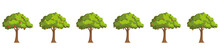 Set Of Fruit Trees. Trees With...