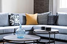Elegant Fabric Grey Sofa With ...