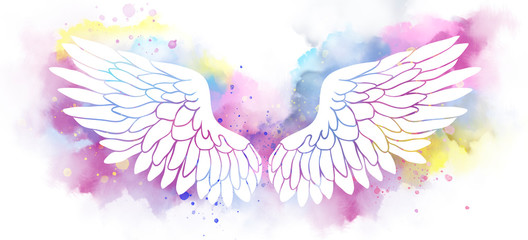 Beautiful magic angel white wings on watercolor background