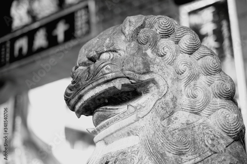 Fotografering Close-up Of Stone Lion Statue In Repulse Bay