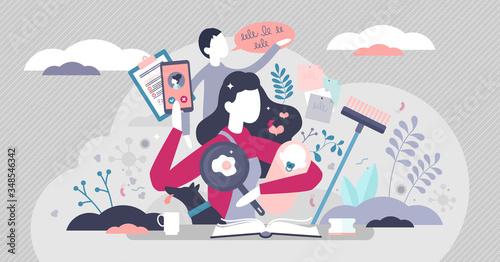 Cuadros en Lienzo Busy mom vector illustration