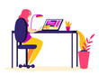 Woman is watching online webinar on a laptop. Concept of distance education. Lectures for freelancer. Flat style illustration