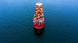 canvas print picture Container cargo ship  import export global business worldwide logistic and transportation, Container ship supply chain crisis, logistic crisis, Aerial view container cargo vessel boat freight ship.