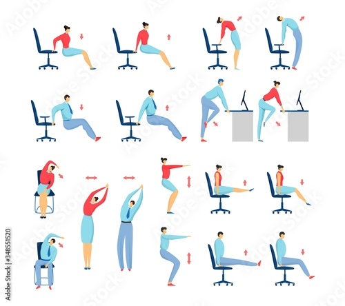 office stretching exercises people set of isolated vector