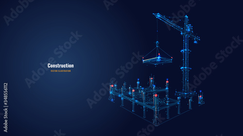 Canvastavla Building work process with construction equipment in dark blue background