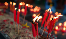 Burning Red Chinese Candles In...