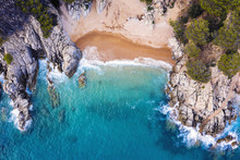 Top View Of A Cove Of Turquois...