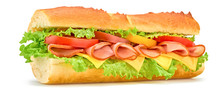 Submarine Sandwich With Ham, Cheese, Tomato, Lettuce Salad Isolated On White. Homemade Baguette Ham Sandwich With Vegetables. Large Sub Tomato Sandwich Closeup, Banner