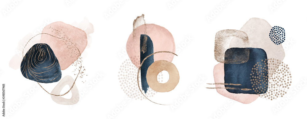 Fototapeta Arrangements. Navy blue, blush, pink, ivory, beige watercolor Illustration and gold elements, on white background. Abstract modern print set. Logo. Wall art. Poster. Business card.
