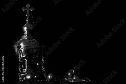 water drops on black background,church utensils, censer Canvas Print