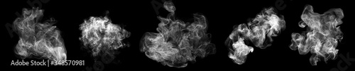 Photo Smoke clouds, steam mist fog, realistic 3D isolated on black background
