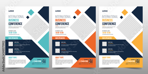 Fototapeta Creative Corporate & Business Conference Flyer Brochure Template Design, abstract business flyer, vector template design. Brochure design, cover, annual report, poster, flyer obraz