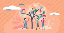 Social Work Vector Illustration. Society Help In Flat Tiny Persons Concept.