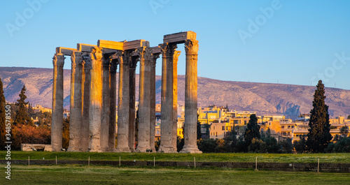 Panoramic view of Temple of Olympian Zeus, known as Olympieion at Leof Andrea Si Canvas Print