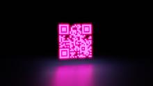 Qr Code With Light Neon. 3D Render