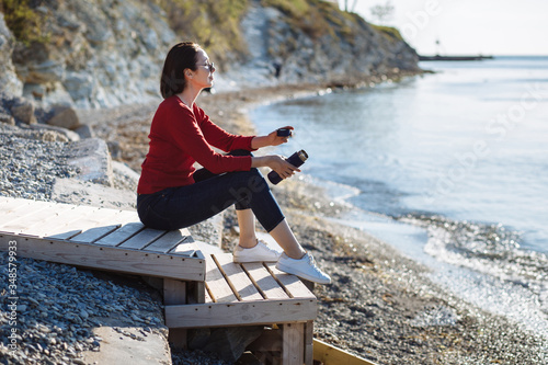 Young woman ashore Canvas Print