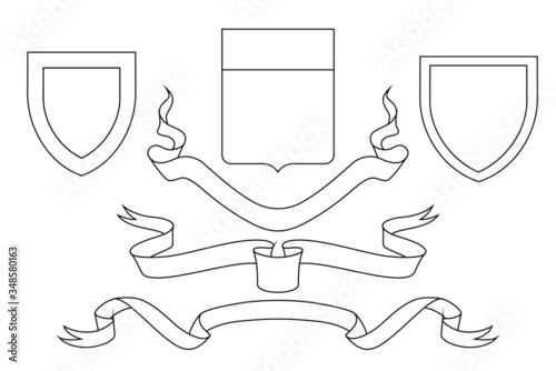 Set of coat of arms crest heraldic medieval royal family shield Wallpaper Mural